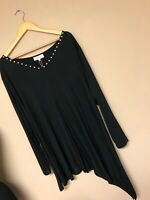 Sheego By Curvissa 26-28 Black Stud Top Blouse Party New With Tags