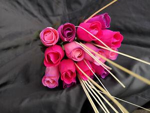 Bouquet de Roses Fleurs Bois Artificielles Anniversaire Mauve Nuances