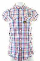 G-STAR Womens Shirt Short Sleeve Size 10 Small Multicoloured Check Cotton  DK18