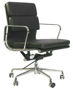 Stylish Office Chair Low Back Soft Pad SoftPad Genuine Black Leather