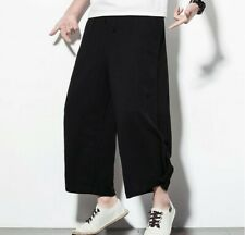 Men's Chinese style Linen Ninth pants Trousers Wide Leg Drawstring Summer Casual