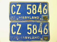 1971 LICENSE PLATES MD MARYLAND MATCHED PAIR Blue & White CZ 5846 - Stickers