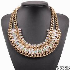 2018 new fashion gold plated chain yarn braided crystal bib statement necklace