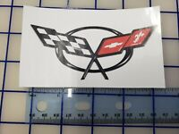 Corvette Chevy Chevrolet Cross Flags sticker decal 4.5""