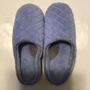 Dearfoams Womens Blue Quilt Slippers Size 9/10