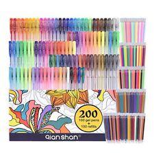200 Pack Gel Pens set for coloring - 100 Pens PLUS 100 Refills - - metallic neon