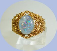 Unique Vintage 14kt Yellow Gold Jelly Opal Ring-- Size 6.5