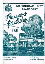 BIRMINGHAM CITY 1951 TRANSPORT FACILITIES BUS, TRAM AND TROLLEYBUS MAP AND T/T