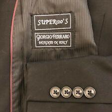 Giorgio Ferraro 2 piece black suit men size 46L pants 38x31 Super 120s