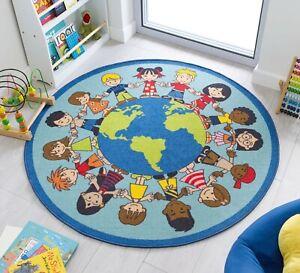 MATRIX KIDDY NATIONS KIDS WORLD ANTI SLIP WASHABLE CIRCLE ROUND MAT NURSERY RUG