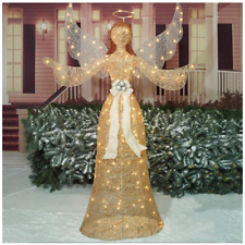 """72"""" Glittering Champagne Lighted Angel Sculpture Christmas Decor"""