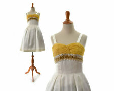 Size Xs True Vintage 1950s 50s retro dress prom yellow gold fit and flare