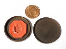 Antiguo anillo de huecograbado sello de cera roja muestra Cabeza de Dragón en Caja Guayacán V #L2