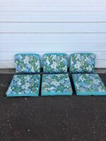 Vintage Mid Century Modern MCM Patio Cushions For Chairs Floral Blue Flowers