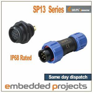 Weipu SP13 Series Circular Connectors. Waterproof IP68 Multipole Plug & Socket