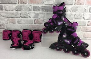 No Fear Girls Inline Skates Black Purple Size UKC10-C13 EU28-32 With Protectors