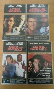Lethal Weapon 1 2 3 4 Director's Cut VHS Tapes Mel Gibson Danny Glover 1999