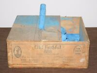 VINTAGE AMERICAN CRAYON CO OLD FAITHFUL 888 RAILROADS MINES MILLS BLUE CHALK