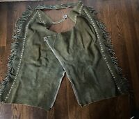 Vintage 60's Olive Green Suede Leather Western Cowboy Chaps Pants