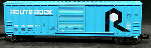 N Scale - Route Rock #302120: Freight Train Box Car, Vintage, Blue