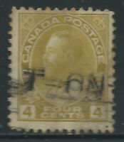 Canada #110c(15) 1922 4 cent golden yellow KING GEORGE V Used CV$15.00