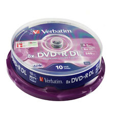 10 DVD+R DL Dual Layer 8 X Verbatim 100 % Vergini 8.5 GB Double Xbox 360 Azo