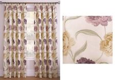 "FLORAL PURPLE CREAM GREEN BEIGE 46 X 90"" (117 X 229CM) PENCIL PLEAT CURTAINS"