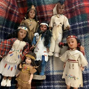 7 Vintage lot of Native American Indian dolls Open Close Eyes Handmade
