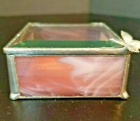 Stained Glass Jewelry Trinket Box Pink Slag &  Clear Beveled Top w/ Butterfly