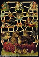 CATS KITTENS PLAY MOTHER HEADS DECOUPAGE PAPER GERMAN EMBOSSED SCRAP ORNAMENTS