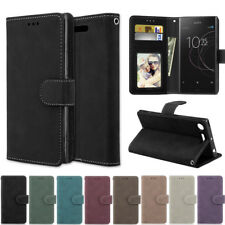 Slim Matte Wallet Leather Flip Case Cover For Sony XA XA1 Ultra E5 M2 M4 M5 L1