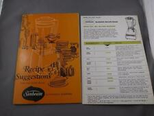 RECIPE BOOKLET SUNBEAM AUTOMATIC BLENDER HOW TO USE INSTRUCTIONS CARD