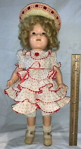 """ANTIQUE 17"""" SHIRLEY TEMPLE COMPOSITION DOLL TOY ORIGINAL CLOTHES HAT POLKA DOT"""