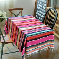 Cotton Mexican Serape Blanket Striped Tablecloth Rug Picnic Yoga Throw Outdoor