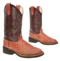 OLD WEST Cowboy Boots 5 D Youth Faux Ostrich LEATHER Western ROPER Boots Kids