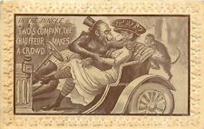 Embossed Postcard Dressed Chimps Canoodling in Car, the Chaffeur makes a Crowd
