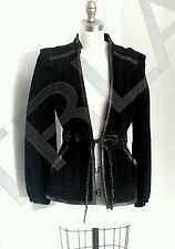 80s Style Vanessa Bruno Black Suede Jacket Leather Detail Belt Sz. 36 FR 4 US