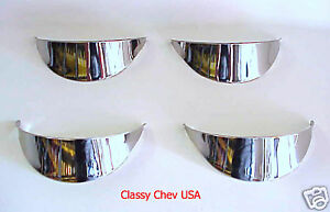 Set of 4 polished Stainless NEW Headlight Visors 5 3/4""