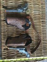 VINTAGE DIECAST Toy Cowboy Leather Holster,Boot,Belt&Buckle,And Hubley Toys