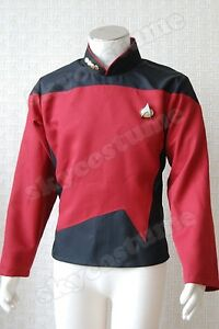 Star Trek TNG Male Duty Uniform Outfit Suit Cosplay Costume Shirt Red Jacket