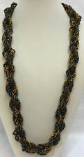 """Necklace Twisted Rope Seed Beads Bronze & Orange 8 Strands 31.5"""" Beaded"""