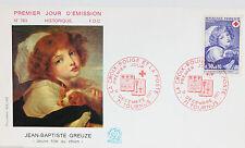 ENVELOPPE PREMIER JOUR - 9 x 16,5 cm - ANNEE 1971 - CROIX-ROUGE J.B. GREUZE N783