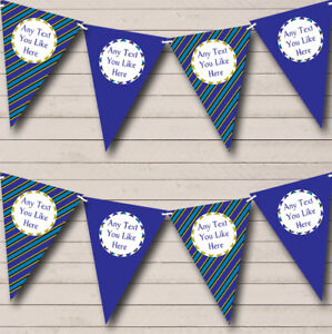 Blue Green Black Stripes Personalised Retirement Bunting Party Banner