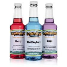 3 Bottles Hawaiian Drinks Snow Cone Syrup Flavor Shaved Ice Healthy Sweetness