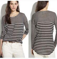 Madewell Striped Knit Blouse Shirt Long Sleeve Black Gray Stripe Medium Viscose