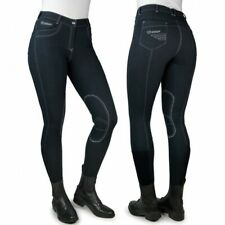 John Whitaker Ladies Rawdon Denim-Effect Breeches-Stretch Comfort-Free P&P