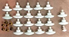 18 Antique Milk Glass Overmyer Threaded  Oval Drawer Knobs Hoosier Cabinet Pulls