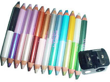 12 Eyeshadow Pencil Maquillage Double Color Eyeliner with Sharpener 24 Beauty