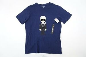 KARL LAGERFELD LM9K3794 BLUE LARGE BIG KARLTOON TEE TSHIRT MENS NWT NEW