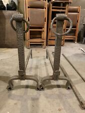 Vintage Cast Iron Andirons With Poker